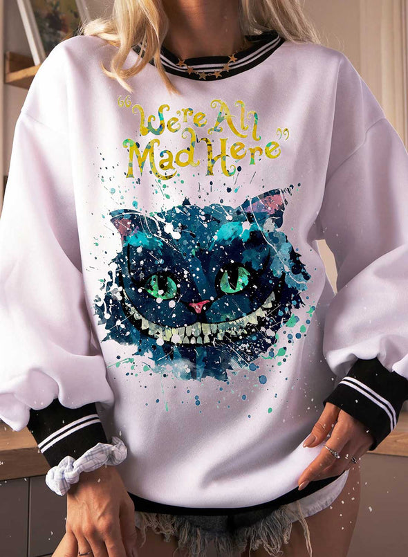 White Women's Sweatshirts Round Neck Long Sleeve Solid Cat Print Color Block Casual Sweatshirts LC2536465-1