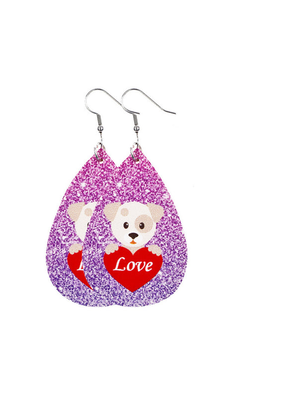 Purple Women's Earrings Bear Teardrop-shaped PU Cute Fashion Earrings LC011119-8