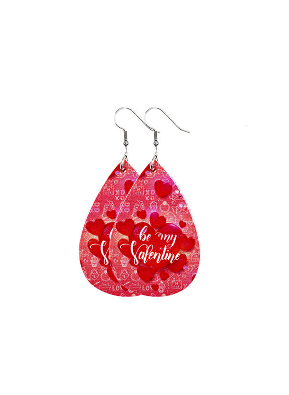 Red Women's Earrings Bear Teardrop-shaped PU Cute Fashion Earrings LC011119-103