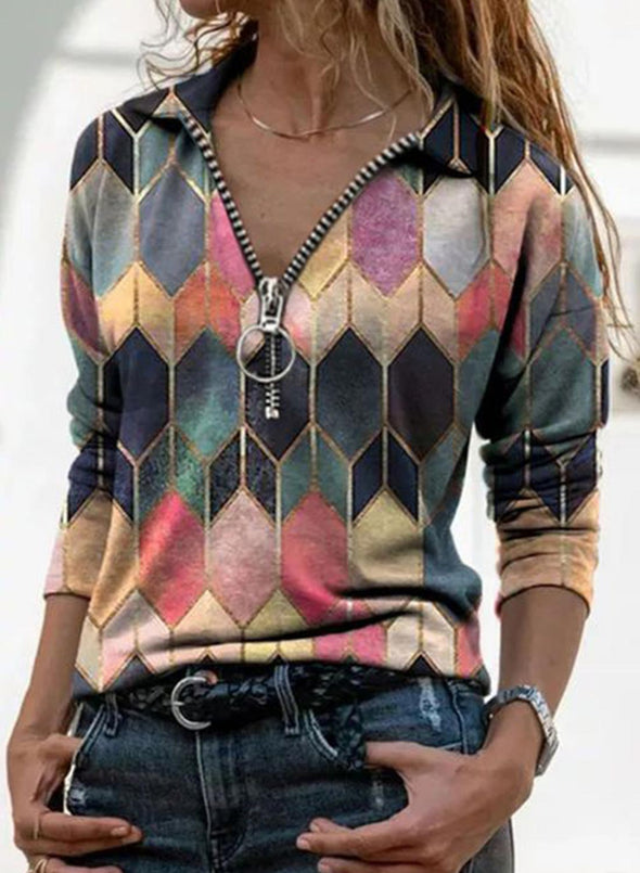 Pink Women's Pullovers Color Block Long Sleeve V Neck Casual Zip Pullover LC2515390-10