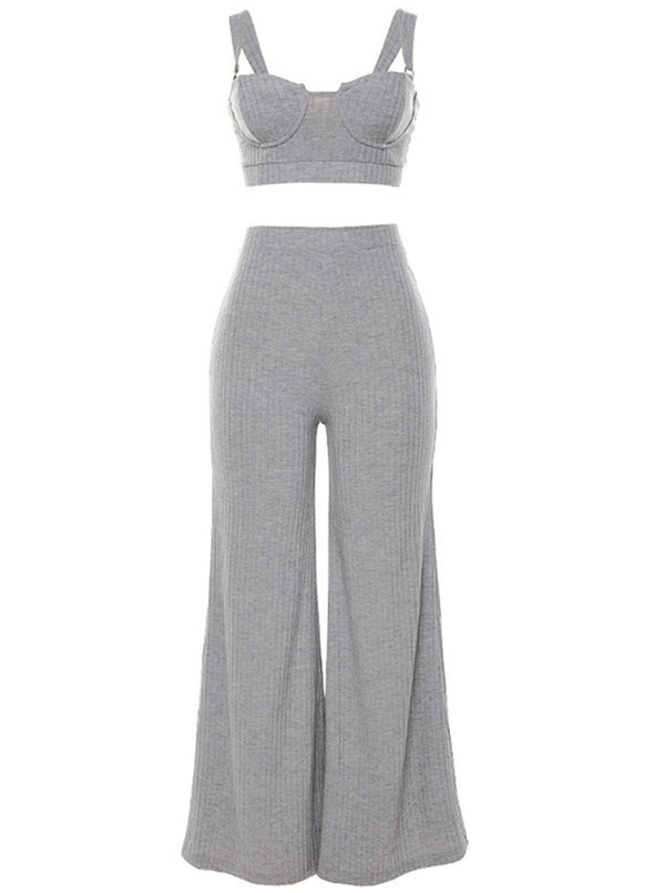 Gray Women's Suits Strappy Slim Tank Top High Waiste Wide Leg Trouser Solid Daily Two-piece Suits LC621393-11