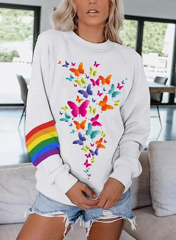 White Women's Sweatshirts Round Neck Long Sleeve Butterfly Print Color Block Casual Sweatshirts LC2536479-1