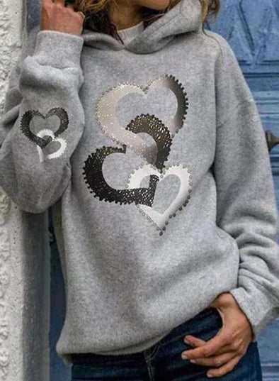 Gray Women's Hoodies Heart-shaped Print Long Sleeve Daily Casual Hoodie LC2536787-11