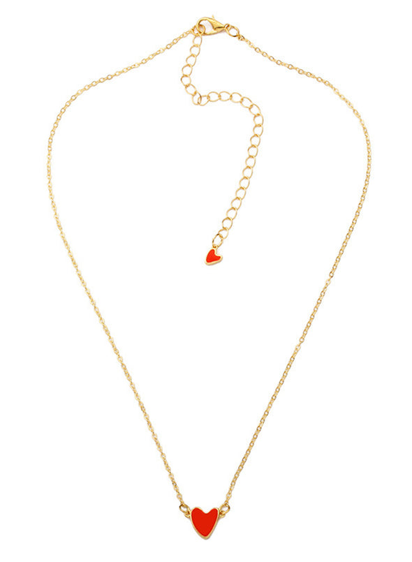 Red Women's Necklaces Simple Double Heart-shaped Clavicle Alloy Necklace LC011302-3