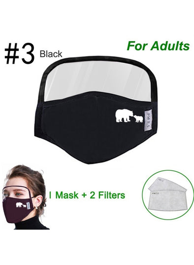 Black Adults' Masks Solid Cotton Masks With Eye Shield KZ1741-2