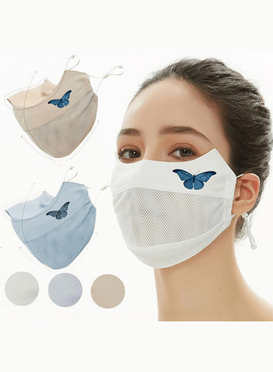 White Adults' Masks Butterfly Solid Cotton Breathable Masks KZ1742-1