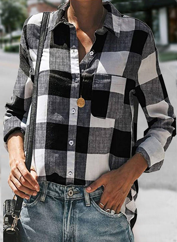 White Women's Shirts Plaid Color Block Casual Turn Down Collar Long Sleeve Basic Shirts LC255738-1