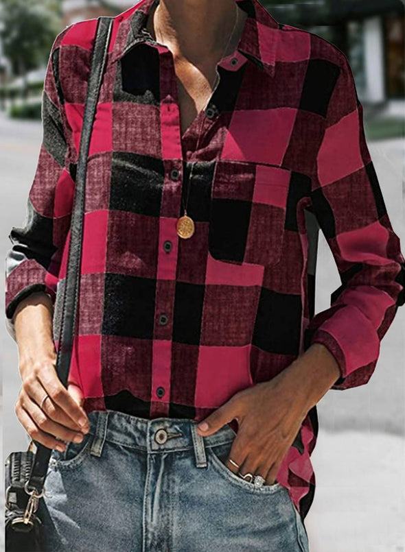 Red Women's Shirts Plaid Color Block Casual Turn Down Collar Long Sleeve Basic Shirts LC255738-3