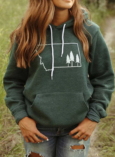 Green Women's Hoodies Print Long Sleeve Daily Casual Pocket Hoodie LC2536910-9