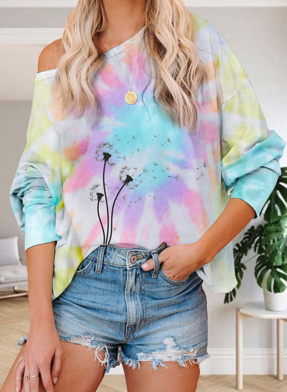 Multicolor Women's Pullovers Tiedye Dandelion Long Sleeve Cold-shoulder Daily Pullover LC2515755-22