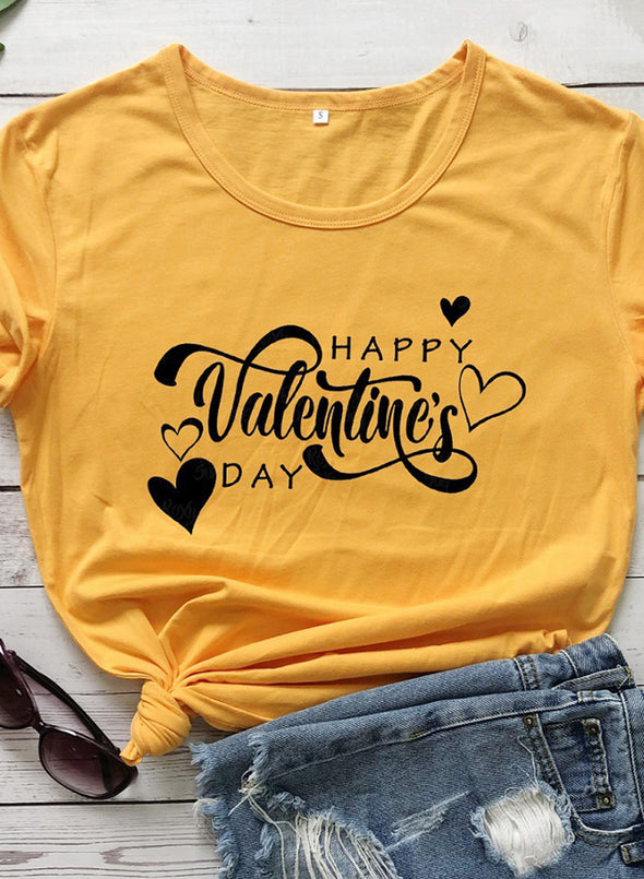Yellow Women's T-shirts Holiday Letter Short Sleeve Round Neck Daily Casual Basic T-shirt LC2522915-7