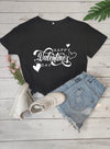 Black Women's T-shirts Holiday Letter Short Sleeve Round Neck Daily Casual Basic T-shirt LC2522915-2