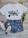 White Women's T-shirts Holiday Letter Short Sleeve Round Neck Daily Casual Basic T-shirt LC2522915-1