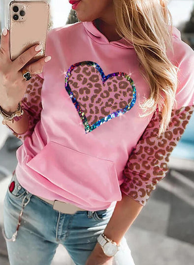 Pink Women's Hoodies Leopard Heart-shaped Color Block Long Sleeve Daily Date Pocket Sequin Hoodie LC2537033-10