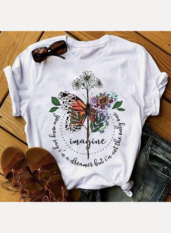 White Women's T-shirts Floral Butterfly Print Letter Short Sleeve Round Neck Casual T-shirt LC2523106-1