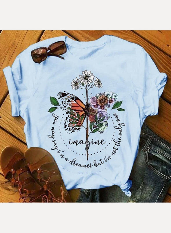 Sky Blue Women's T-shirts Floral Butterfly Print Letter Short Sleeve Round Neck Casual T-shirt LC2523106-4