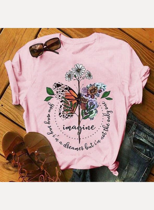 Pink Women's T-shirts Floral Butterfly Print Letter Short Sleeve Round Neck Casual T-shirt LC2523106-10