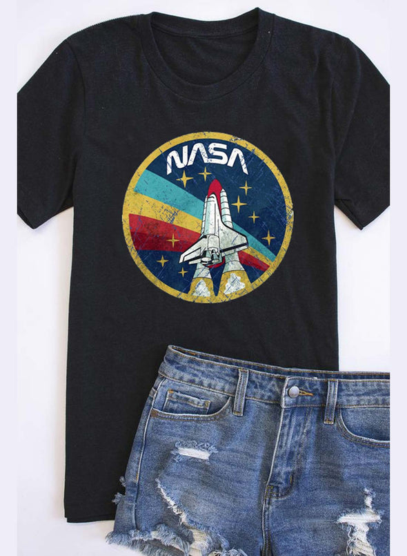 Black Women's T-shirts Nasa Letter Short Sleeve Round Neck Daily T-shirt LC2523111-2