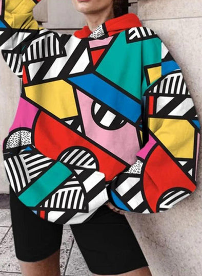 Multicolor Women's Hoodies Color-block Long Sleeve Casual Loose Hoodie LC2537126-22