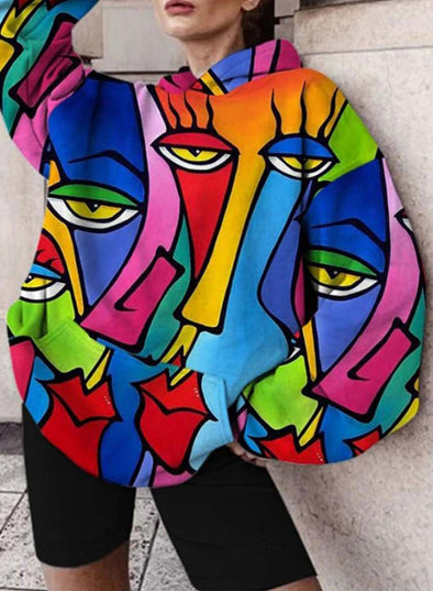 Multicolor Women's Hoodies Color Block Long Sleeve Daily Casual Loose Hoodie LC2537127-22