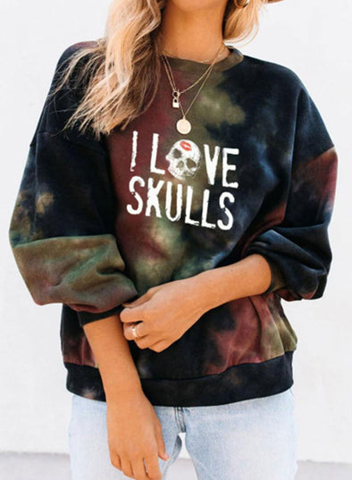 Black Women's Sweatshirts Letter Print Tiedye Long Sleeve Round Neck Daily Sweatshirt LC2537128-2