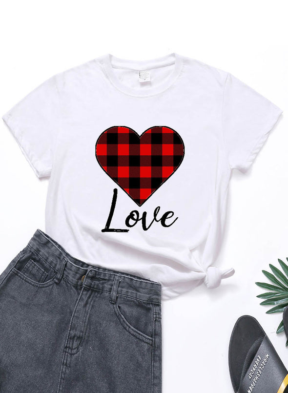 White Women's T-shirts Plaid Color Block Heart-shaped Print Short Sleeve Round Neck Daily T-shirt LC2523361-1