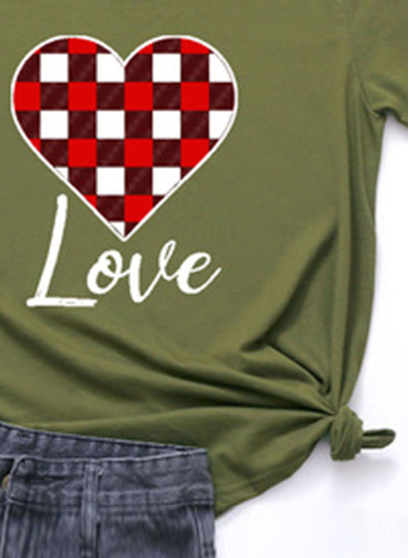 Green Women's T-shirts Plaid Color Block Heart-shaped Print Short Sleeve Round Neck Daily T-shirt LC2523361-9