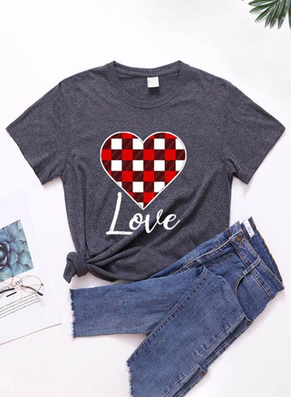 Gray Women's T-shirts Plaid Color Block Heart-shaped Print Short Sleeve Round Neck Daily T-shirt LC2523361-11