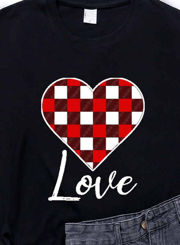 Black Women's T-shirts Plaid Color Block Heart-shaped Print Short Sleeve Round Neck Daily T-shirt LC2523361-2