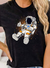 Black Women's T-shirts Astronaut Print Holiday Short Sleeve Round Neck T-shirt LC2523362-2
