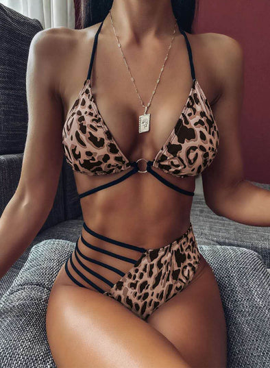 Leopard Women's Bikini Suit Leopard High Waist Halter Adjustable Sleeveless Spaghetti Wire-free Padded Vacation Sexy Suit LC43489-20