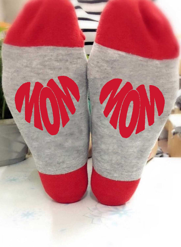 Red Women's Socks Color Block Heart-shaped Cotton Cute Socks LC09393-3