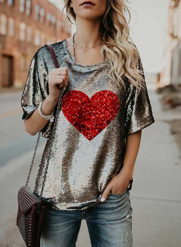 Brown Women's T-shirts Heart-shaped Print Sequin Short Sleeve Round Neck Daily Festival Party T-shirt LC2523528-17
