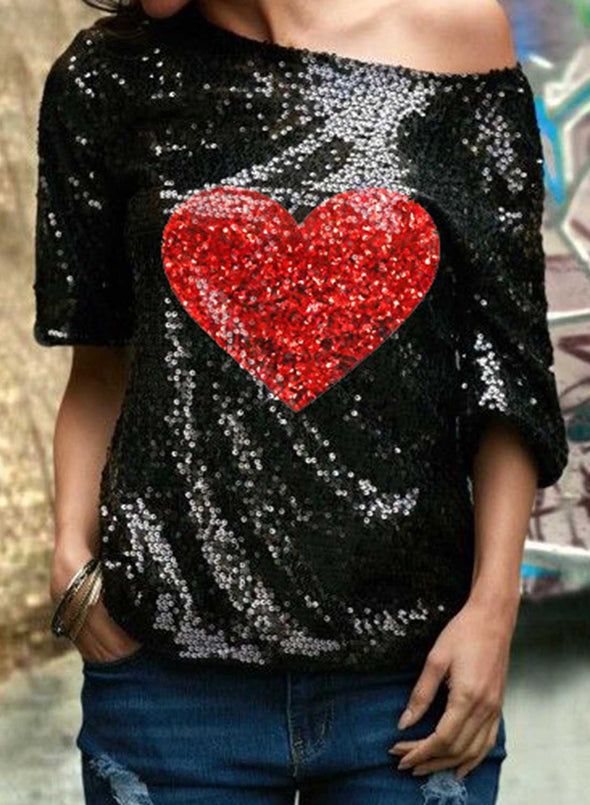 Black Women's T-shirts Color Block Heart-shaped Print Sequin Short Sleeve Cold-shoulder Daily Party Festival T-shirt LC2523529-2
