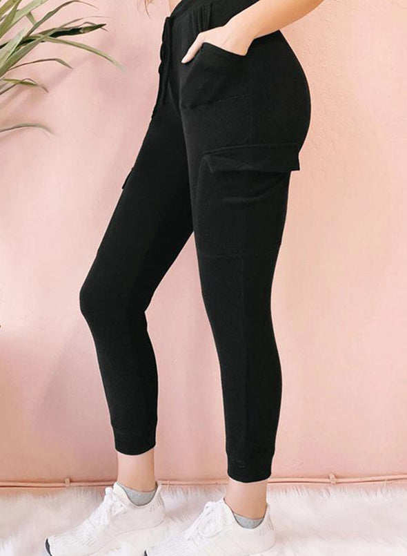 Black Women's Joggers Slim Solid Mid Waist Drawstring Ankle-length Casual Joggers LC771515-2