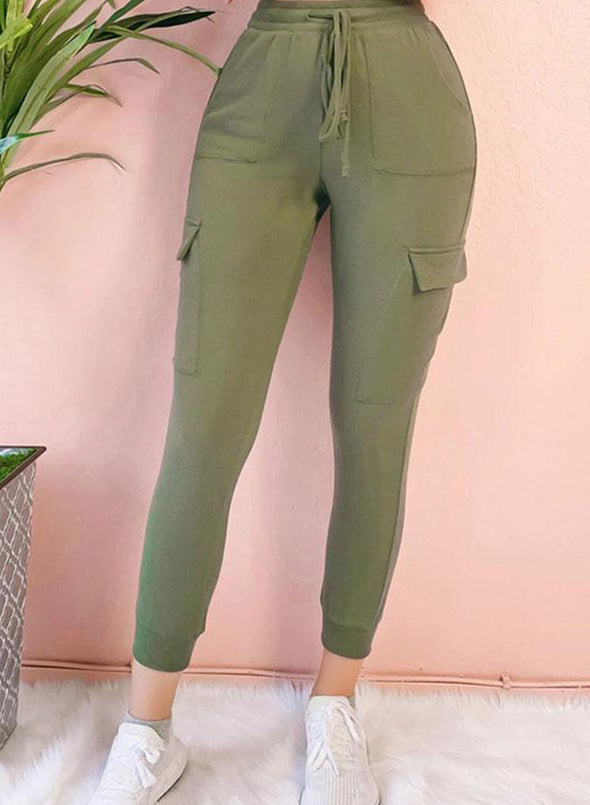 Green Women's Joggers Slim Solid Mid Waist Drawstring Ankle-length Casual Joggers LC771515-9