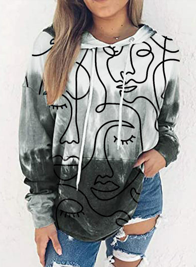 Gray Women's Hoodies Abstract Portrait Color Block Long Sleeve Drawstring Casual Hoodie LC2537264-11