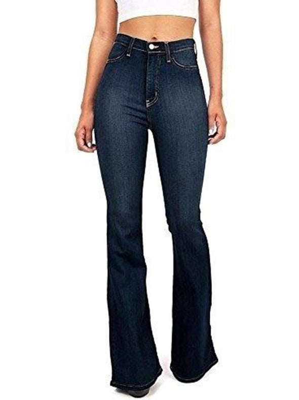 Blue High-rise Fitted Bell-bottom Jeans LC781489-5