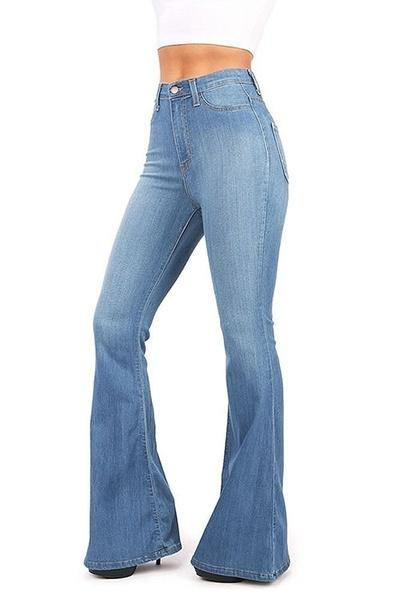 Sky Blue High-rise Fitted Bell-bottom Jeans LC781489-4