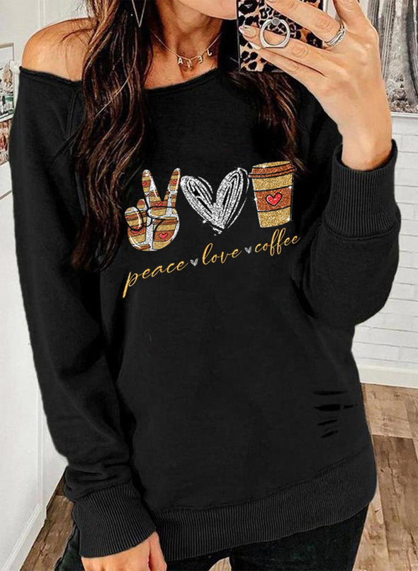 Black Women's Pullovers Cold Shoulder Heart-shaped Solid Letter Round Neck Long Sleeve Casual Daily Pullovers LC2537290-2