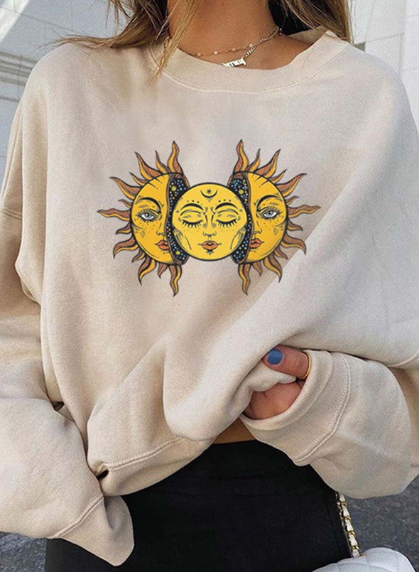 Beige Women's Pullovers Color Block Sun Moon Round Neck Long Sleeve Casual Daily Pullovers LC2537300-15