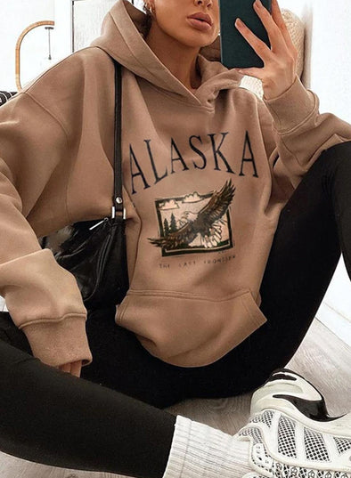 Brown Women's Hoodies Color Block Letter Loose Long Sleeve Pocket Hoodies LC2537302-17