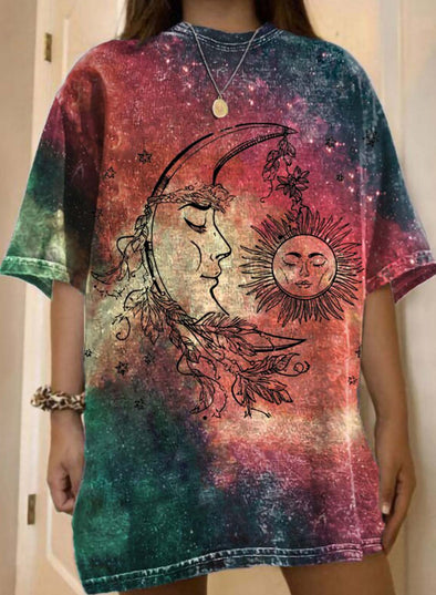 Red Women's T-shirts Color Block Sun Moon Print Half Sleeve Round Neck Daily T-shirt LC2523619-3