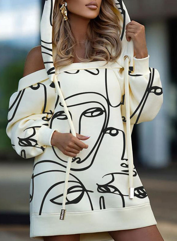 Beige Women's Mini Dresses Color Block Abstract Portrait 3/4 Sleeve Off Shoulder Shift Casual Mini Dress LC224698-15