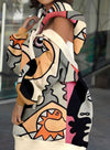 Multicolor Women's Mini Dresses Color Block Abstract Portrait 3/4 Sleeve Off Shoulder Shift Casual Mini Dress LC224698-22