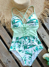 Green Women's Swimsuits Multicolor Floral Sleeveless Spaghetti Adjustable Sexy Knot 1-piece Swimsuit LC44393-9