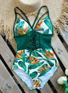 Green Women's Swimsuits Multicolor Floral Sleeveless Spaghetti Adjustable Sexy Knot 1-piece Swimsuit LC44393-109