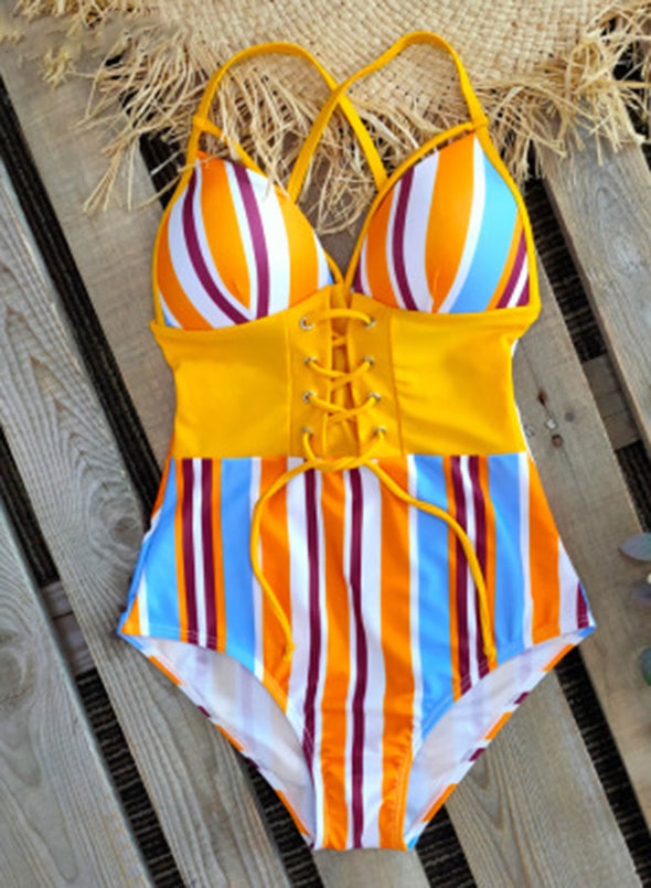 Yellow Women's Swimsuits Multicolor Floral Sleeveless Spaghetti Adjustable Sexy Knot 1-piece Swimsuit LC44393-7