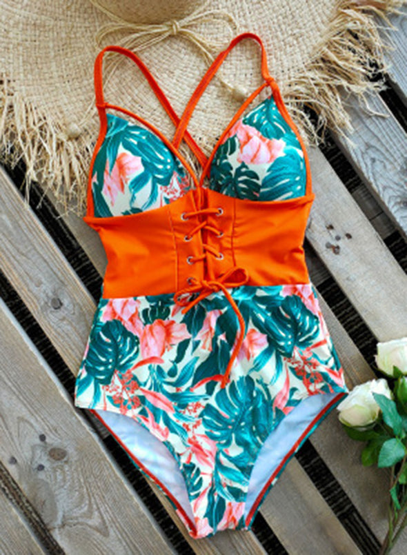 Orange Women's Swimsuits Multicolor Floral Sleeveless Spaghetti Adjustable Sexy Knot 1-piece Swimsuit LC44393-14
