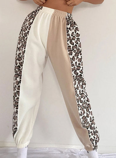 Leopard Women's Joggers Color Block Leopard Straight High Waist Daily Full Length Joggers LC771541-20